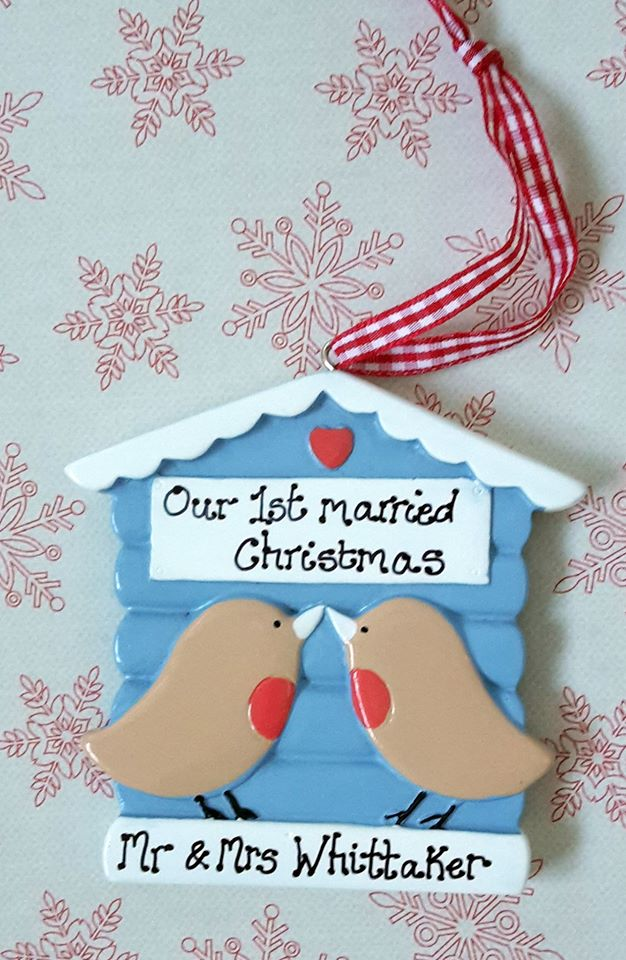 Personalised couple's first married christmas decoration