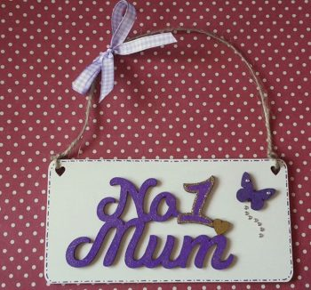 No 1 Mum plaque - purple