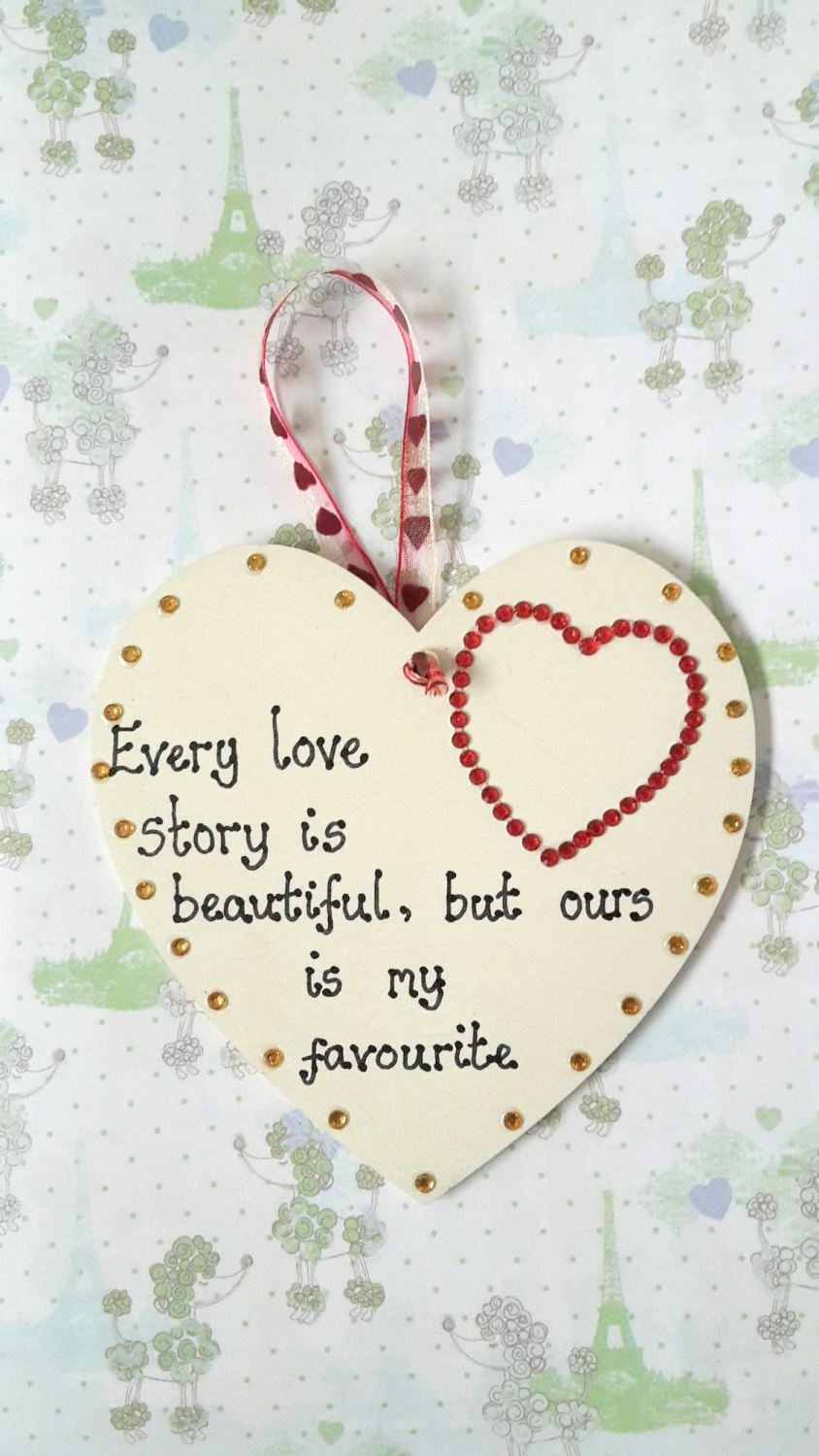 Every love story is beautiful personalised plaque