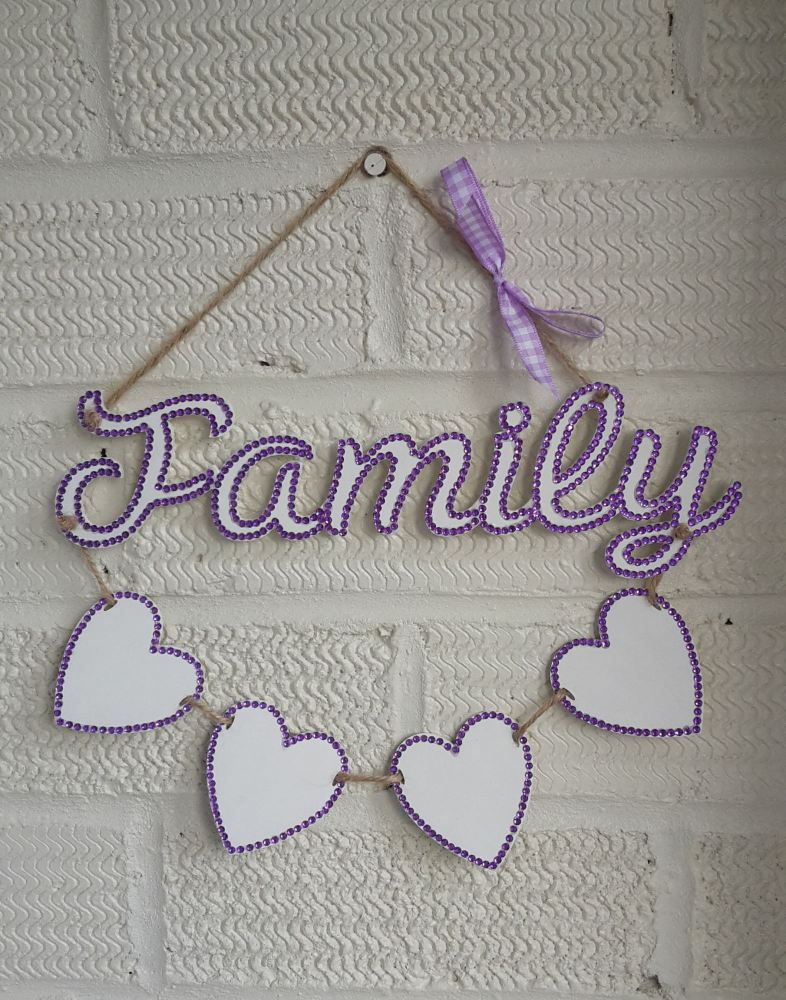 Family plaque with personalised hearts