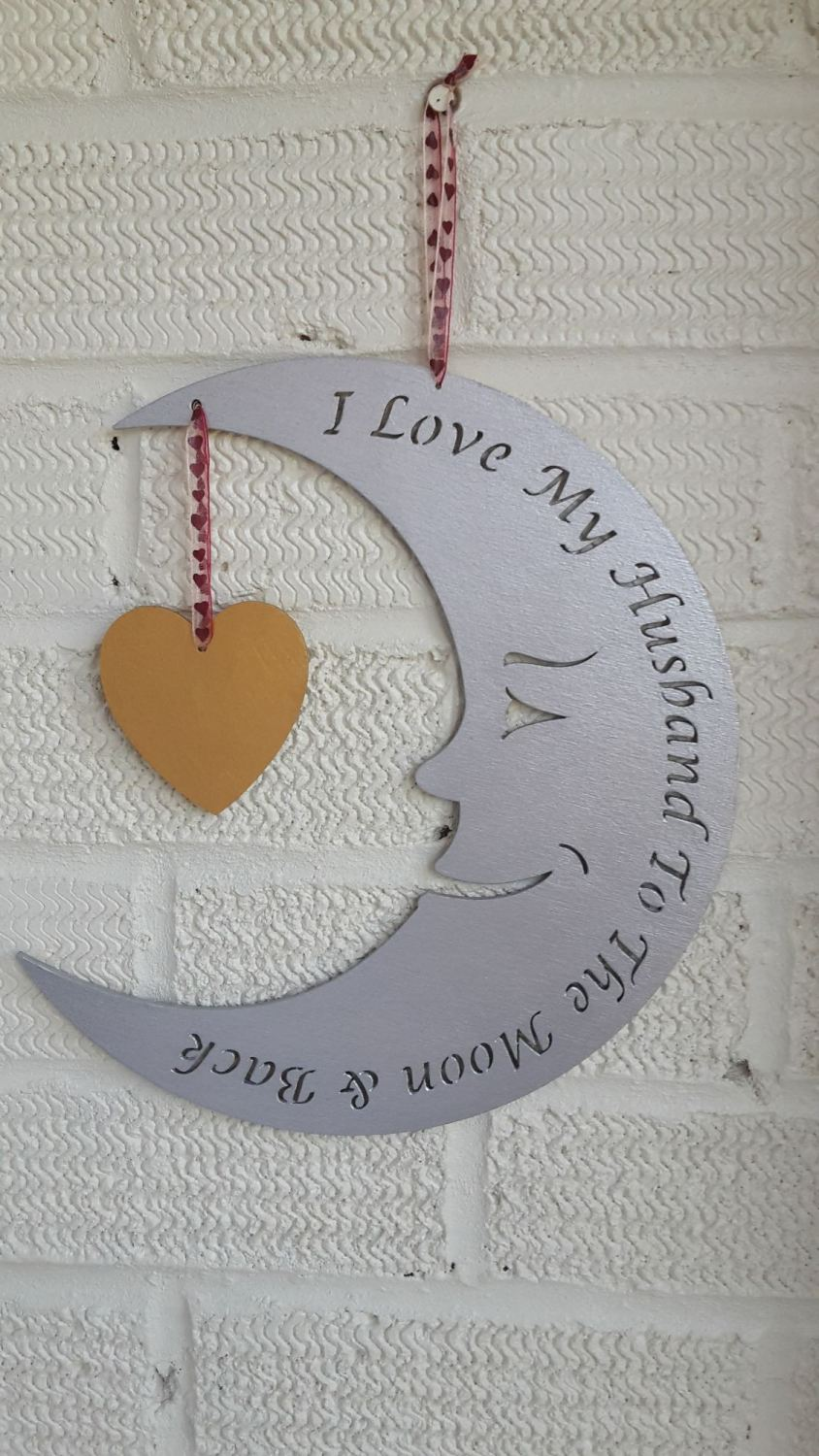 I love my husband to the moon and back personalised plaque