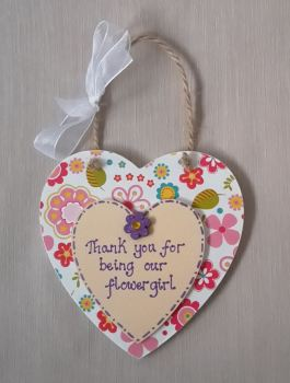 Flower girl thank you plaque