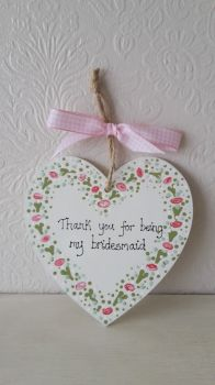 Bridesmaid thank you heart plaque 2