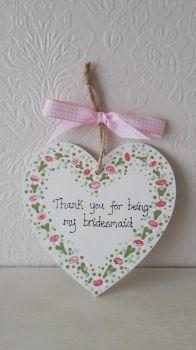 Bridesmaid thank you heart plaque 2