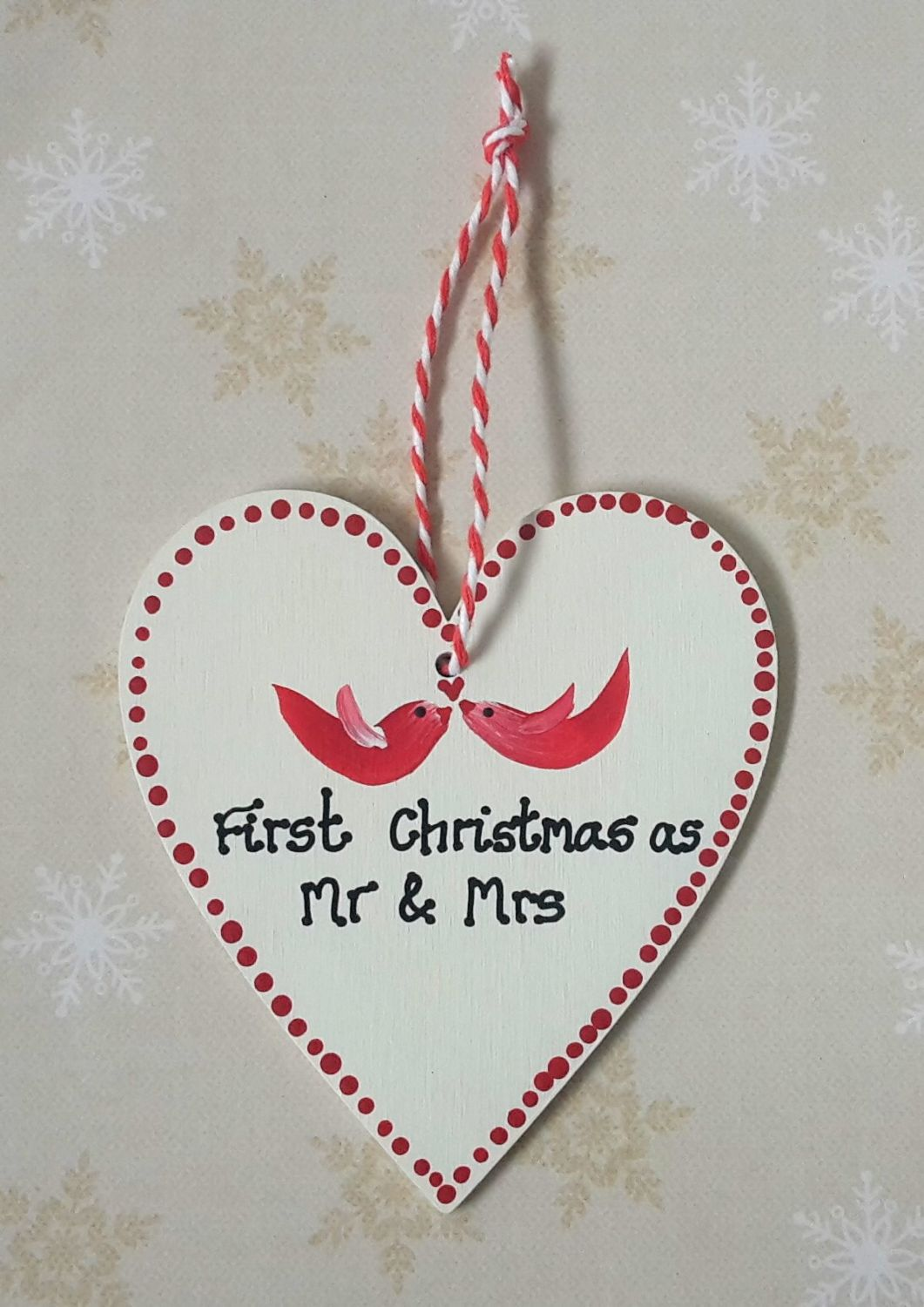 <!-- 0002 -->Personalised 1st Married Christmas Heart Decoration