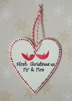 Personalised 1st Married Christmas Heart Decoration