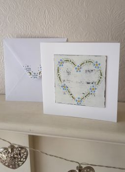 Handpainted daisy dots heart card