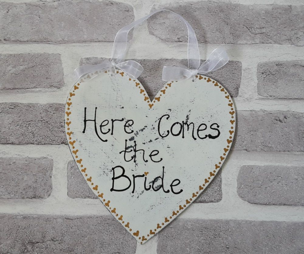 Heart here comes the bride plaque