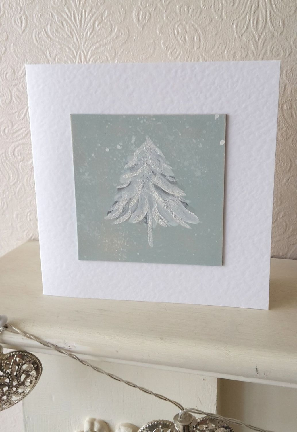 Handpainted christmas card - tree