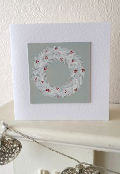 Handpainted christmas card - wreath