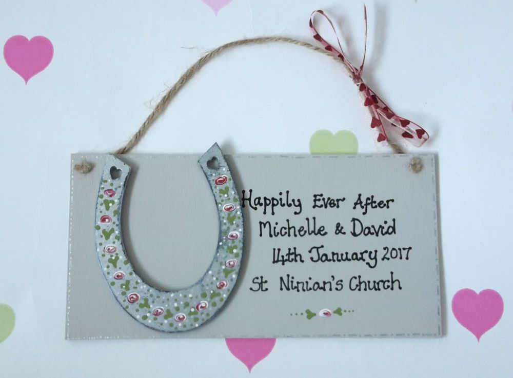<!-- 001 -->Personalised Happily ever after wedding plaque