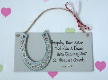 Personalised Happily ever after wedding plaque