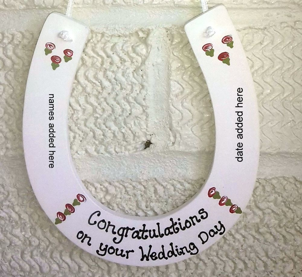 <!-- 0006 -->Personalised painted Wedding Horseshoe Keepsake