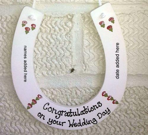 <!-- 0006 -->Personalised painted Wedding Horseshoe Keepsake