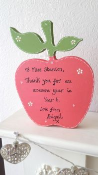 Freestanding personalised teacher apple gift