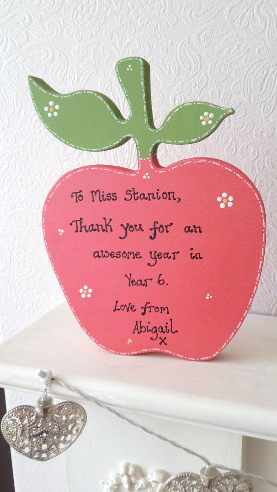 Freestanding personalised teacher apple gift