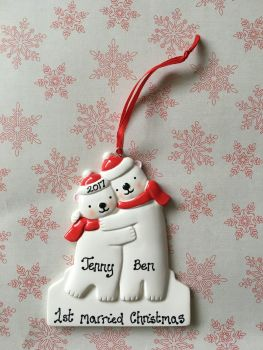 Personalised couple's first married christmas decoration - polar bear