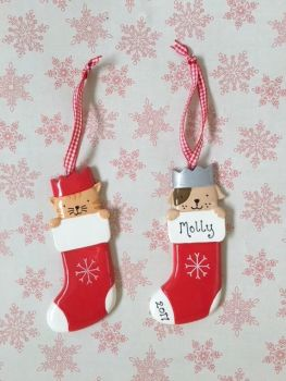 Cat or dog stocking personalised christmas decoration