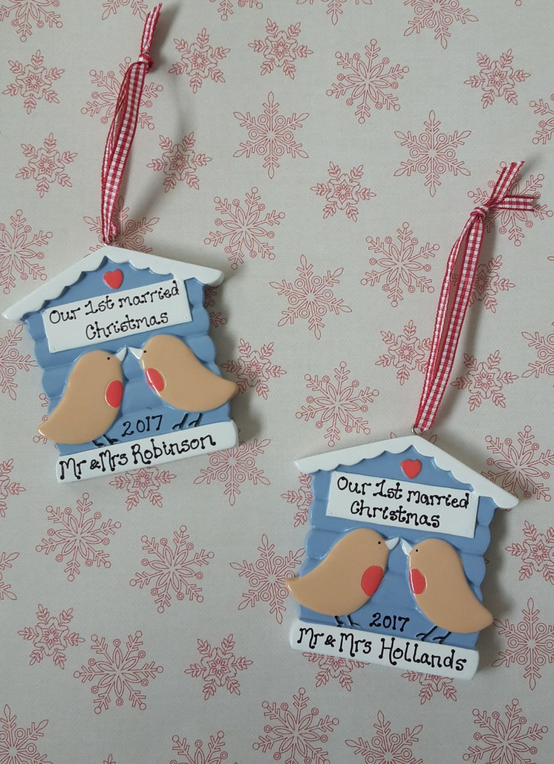 <!-- 000001 -->Personalised couple's first married christmas decoration rob
