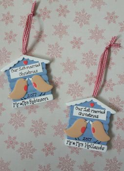 Personalised couple's first married christmas decoration robins