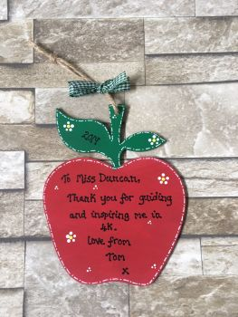 Apple (large) personalised thank you teacher plaque