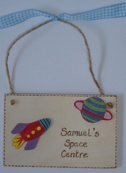 Personalised children's space rocket bedroom door plaque