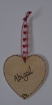 Personalised wooden heart wedding table place setting