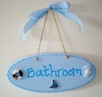 Bathroom painted plaque