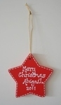 personalised red painted star christmas decoration