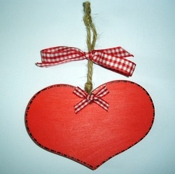 Red painted heart plaque