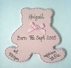 Personalised teddy shaped new baby keepsake gift