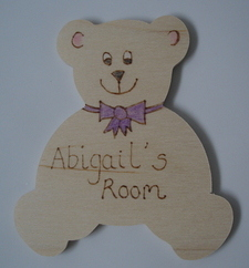 Personalised teddy shaped door plaque