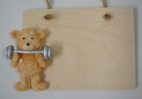 Weight lifting teddy plaque - Father's Day or birthday gift
