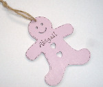 <!-- 010 -->Personalised gingerbread man shaped christmas decoration