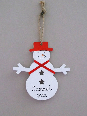 Personalised painted snowman decoration