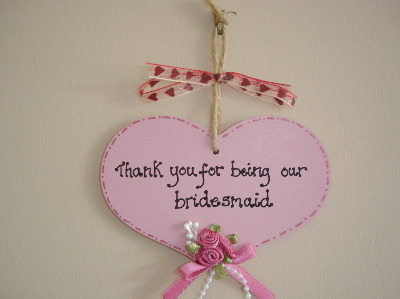 Bridesmaid thank you heart plaque