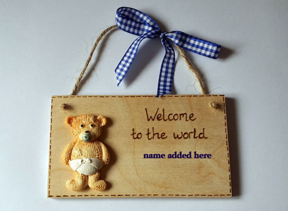 New baby personalised boy teddy plaque gift