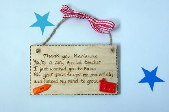 Personalised thank you poem teacher gift