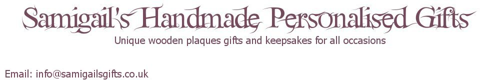 Samigail's Handmade Personalised Gifts, site logo.