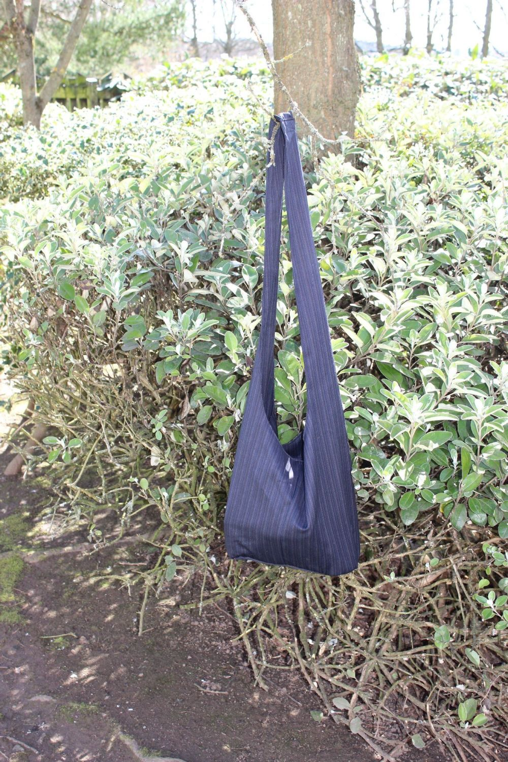 Black Pinstripe Hobo Bag