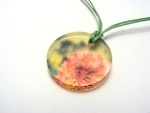 Alliums Green-Pink 6mm Large Pendant on Cord