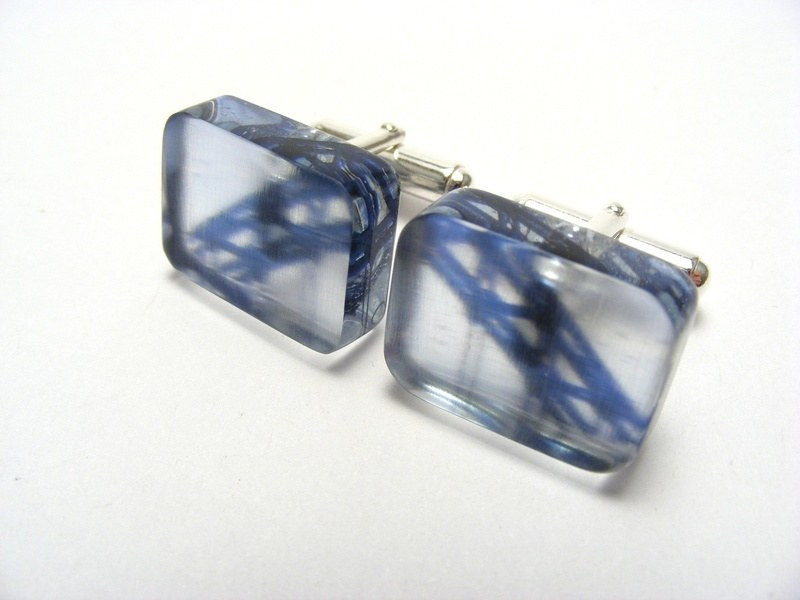 Blue bridge cufflinks 1