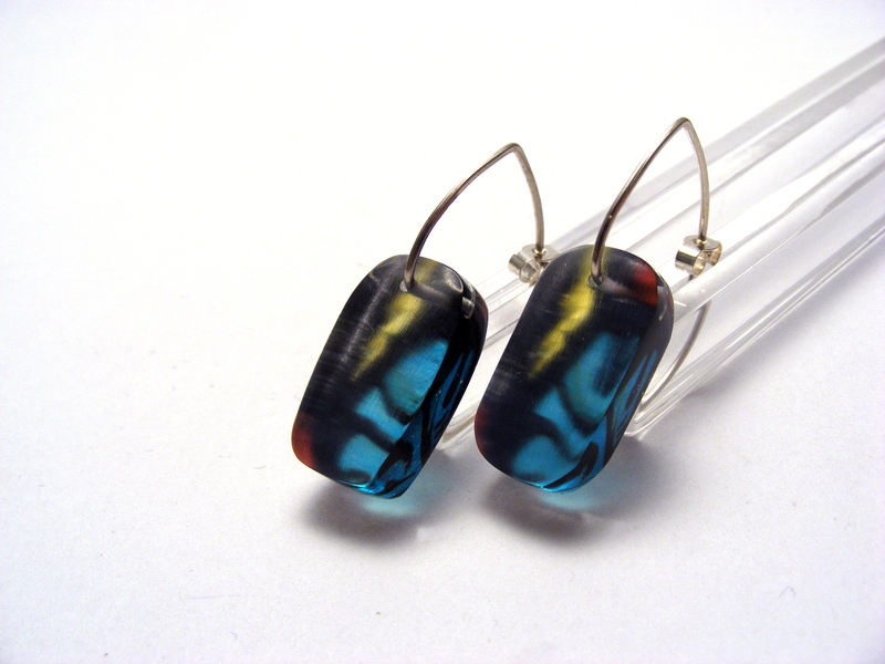 6mm Lozenge earrings Stained Glass 1