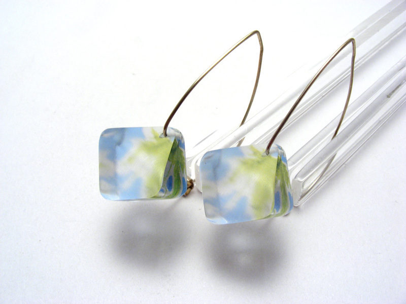 Leaves Dia earrings Blu Green Leaves