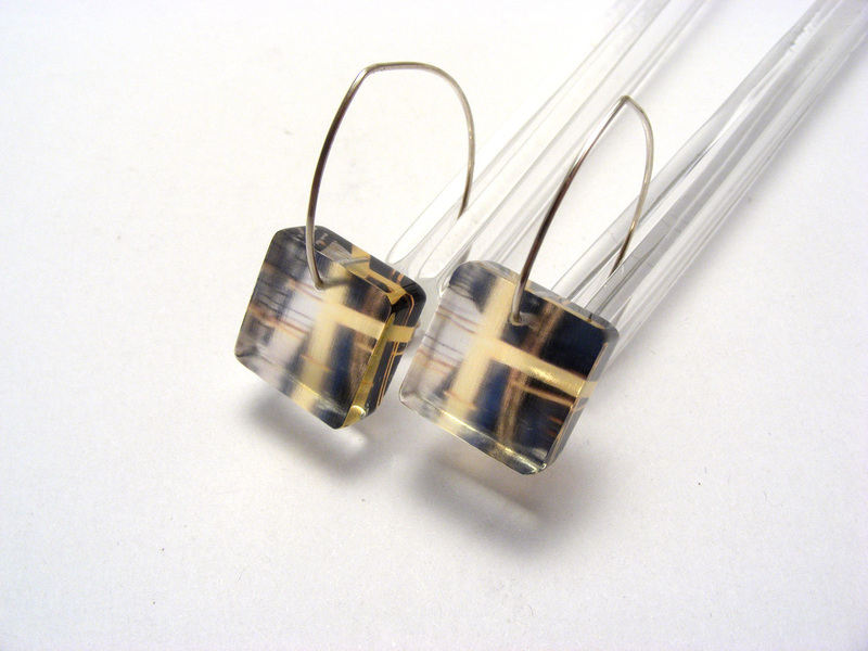 Manmade Close Crane 6mm sq earrings