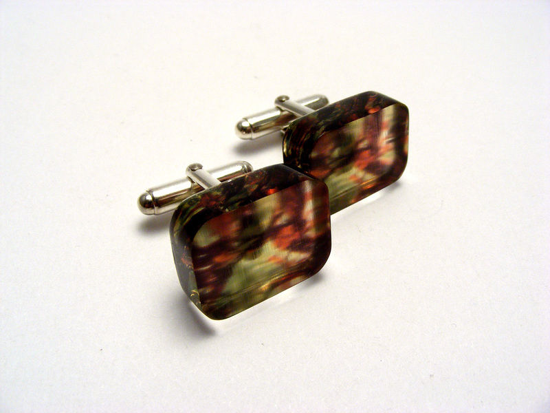 6mm green red leaves cufflinks