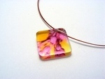 Bold Blossom Pink and Yellow Pendant 6mm Dia