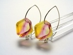 Bold Blossom Pink and Yellow Earrings 6mm Dia
