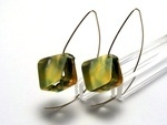 Bold Blossom Green and Yellow Earrings 10mm Dia