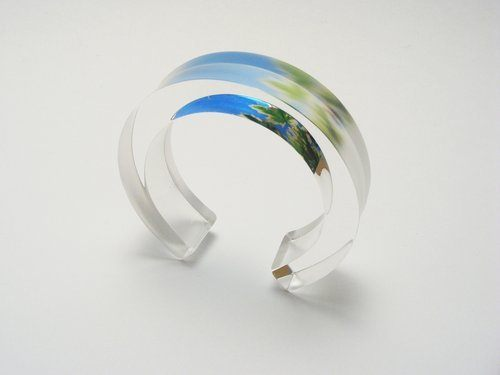 Leaves 10x20 Bangle v1 Spring Blue Green